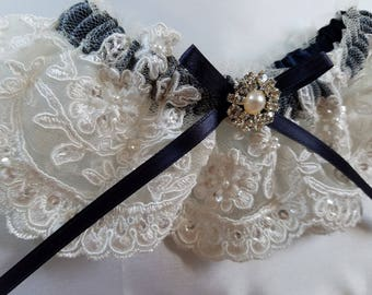 Wedding Garter, Lace Garter, Ivory Beaded Alencon Lace on Navy Band with Bow and Rhinestone Pearl Detail -The KATRINA Garter