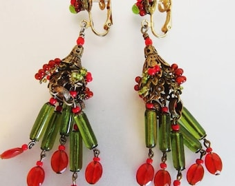 ON SALE Gorgeous Vintage Art Deco Glass Bead Chandelier Earrings