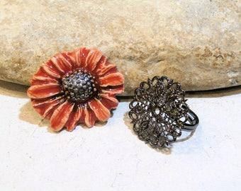 kit créatif pour bague - cabochon céramique artisanale fleur + support bague - bohème, automne, couleur orange corail