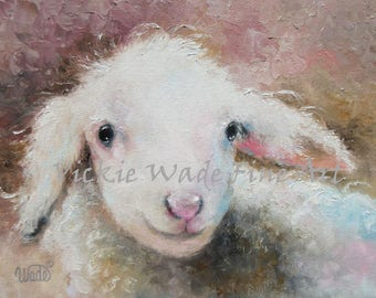 Nursery Baby Lamb Art Print, sheep print, sheep art print, lamb print sheep painting, baby sheet decor, farm animal wall art, Vickie Wade