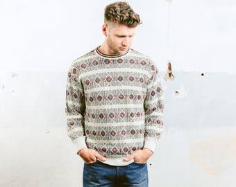 Aztec Print Sweater . Coogi Style Sweater Mens 90s Vintage Patterned Boyfriend Sweater Light Cotton Sweater Southwestern . size Medium