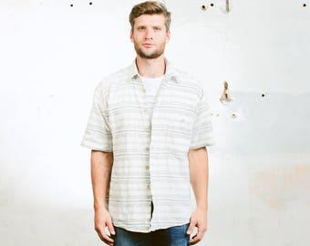 Aztec Southwestern Shirt . Vintage Cotton Shirt 90s Grunge Striped Shirt White Boyfriend Shirt Short Sleeves . size Medium