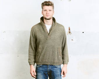 Khaki Green MILITARY Sweater . Men's Unisex Vintage 80s Army Ribbed Knit 1980s Wool Sweater . size Medium