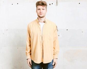 90s Corduroy Shirt . Men Shirt Vintage Grunge Cord Long Sleeve Shirt Men's Minimalist Yellow Shirt Boyfriend Gift for Him . size Medium