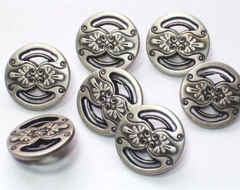 Silver Buttons Set 7 Aged Silver Color Metal Buttons Set 7 Shank Buttons