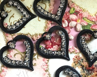 French Black Noir Hearts, Vintage Rhinestone Heart Charms, Gun Metal Brass hearts charm, Rhinestone hearts, Love, valentines day, #1482B