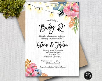 Baby Q Barbeque Baby Shower, Rustic Painted Wood, Flowers and String Twinkle Lights, Couples Shower Printable Digital Invitation, 6275