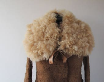 Alpaca Fur collar Fluffy Felted collar Beige felt collar  Alpaca wool collar  Fur scarf  Pure Wool Fleece real fur scarf