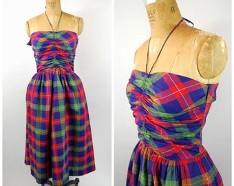 1950s Plaid Cotton Halter Dress / Colorful Plaid // 50s Cotton Dress // Summer Dress