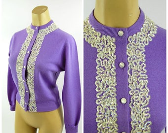 1950s Deep lilac Woolanmink Cardigan Sweater // Sequins trimmed Button-down By Regina Sportswear Co 50s