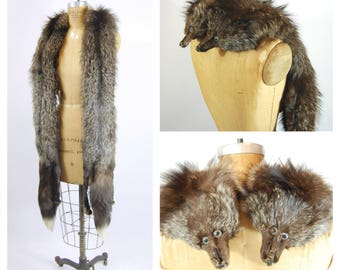 1930s Silver Fox Fur Boa - Fur Wrap - Art Deco Silver Fox Fur Scarf - XL silver fox fur boa sling wrap scarf full pelt pelts extra long