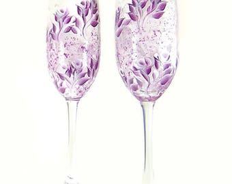 Hand-Painted Champagne Flutes - Plum, White and Silver Roses Set of 2  - Hand Painted Stemware Gifts for Bride and Groom Ideas