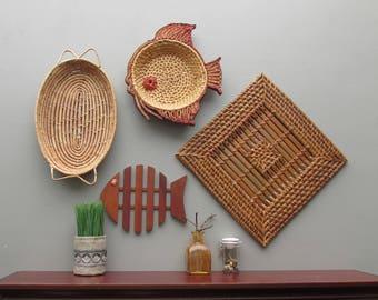 Wicker wall straw art - Swimming Around - set of 4 pieces - bohemian style art - wicker basket wall art- rattan