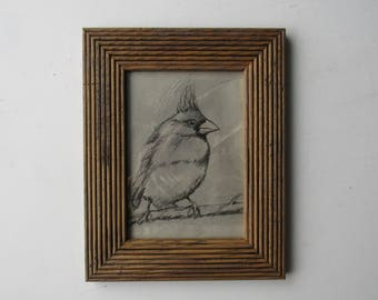 "framed print - quirky animal art  - ""Cardinal "" -animal drawing -wall art - decorative artwork"