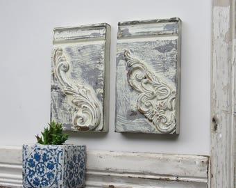 Plinth block -Antique White- B -farmhouse style - Architectural Trim  - white chippy paint