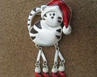 Pewter tone cat brooch pin with Christmas hat and articulated legs