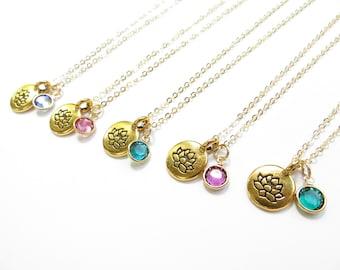 Lotus Birthstone Necklace 14kt Gold Fill Swarovski Crystal Necklace, Bridesmaids Gift, Custom Birthstone, Personalized Necklace, Custom