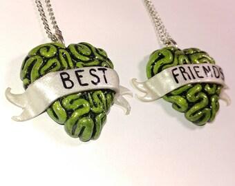 BFF Toxic Zombie Brain Heart Necklace Set. Brains, walking dead, Friendship necklace