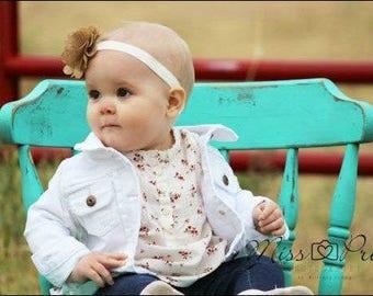 Burlap Flower Headband...Baby Burlap Flower Headband...Newborn Burlap Headband
