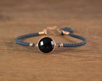 Macrame Onyx and Silk Bracelet - 14k Rose Gold