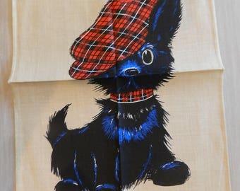 SCOTTY DOG Tartan Scottish Scotland 1970's RETRO Vintage Unused Pure Linen Tea KitchenTowel Dishcloth