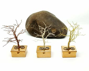 Set of Six  Winter Trees\ Wire Tree Sculpture\ Tree Art\ Tooth Fairy Box\ Wire Trees\  Gifts for Her\  Gift Ideas\ Wire Art