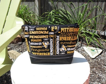 Large Cosmetic Case, Clutch, Gadget Bag, Accessory Pouch, Pittsburgh Penguins, NHL