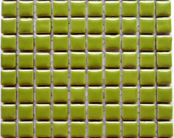 100 (10mm) MINI Kiwi Lime Green Glazed Ceramic Tiles Mosaic Supplies//Mosaic Pieces//Crafts