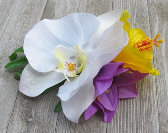 Hawaiian - Tropical - White Orchid - yellow hibiscus - purple amaryllis flower - hair clip - Wedding-