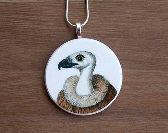 Vulture Necklace, Vulture Pendant, Vintage Vulture, Handcrafted Jewelry, Gift for Bird Lovers, Free Shipping in US