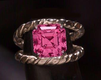 Reserved Listing 2 of  2 - 12mm Custom Cut lab pink sapphire & Kashmir Blue Asscher Cut