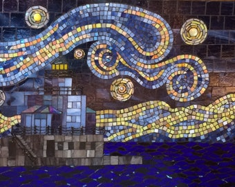 "Stained Glass Mosaic Lighthouse ""Starry"""