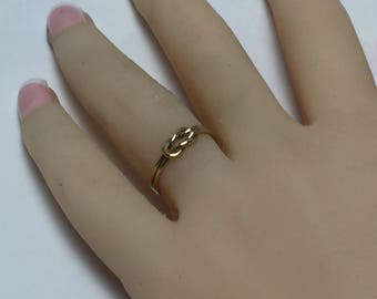 Hercules knot, buckle knot ring, sailors knot ring, 18g thick, love knot, 10k solid gold, stylish, trendy