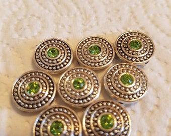 Swarovski Peridot Green Crystal Sliders/Spacers