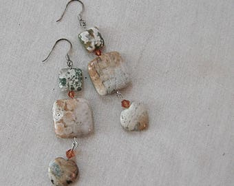 Ocean Jasper and Fossil Coral Heart Earrings with Yellow Crystals, Cream, Yellow, Tan, Orange, Green