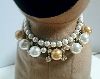 Bold fashion pearls and faux gemstone necklace collar accessory for your pet, available size xtra small, small or medium