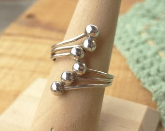 Sterling Silver Wrap Ring - Dotted Ring - Silver Wing Ring - Modern Ring - Boho Ring - Vintage Sterling Ring - Adjustable