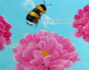 bumblebee painting-bumblebee and flower-bee art-bee painting-bee and flower painting-zinnia painting-garden watercolor-garden art