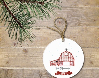 Personalized Christmas Ornament, Christmas Ornament, Farm Christmas Ornament,Farm, Red Barn, Red Barn Christmas Ornament, Rustic Ornament