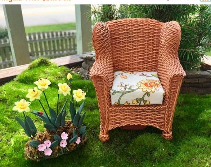 Featured listing image: SALE Miniature Wicker Look Garden Chair With Removable Cushion by Reutter, Dollhouse Miniature, Fairy Garden Accessory, Topper