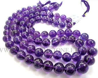 Semiprecious Stone, Amethyst (African) Smooth Round (Quality AA) / 8.50 to 10.50 mm / 36 cm / AMET-044