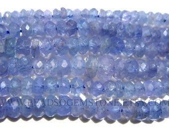 Semiprecious Stone, Tanzanite Faceted Roundel (Micro) (Quality B) / 3.50 to 4.50 mm / 36 cm / TANZ-097