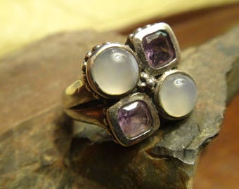 Gorgeous Amethyst and Pearly Quartz Sterling Silver Ring Size 6 16.5 mm