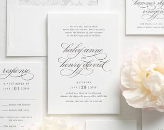 Haley Letterpress Wedding Invitations - Deposit