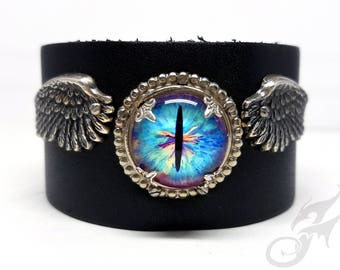 Steampunk Winged Evil Eye Cuff ~ Black Leather & Silver Plated Brass ~ Two Snap Adjustable Leather Cuff ~ Fits up to 8 Inch Wrist ~ #B0167