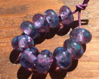 Lilac Sea Heathers Lampwork Frittie Beads, SRA, UK Seller, UK Lampwork