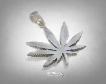 Marijuana Weed Leaf Cannabis Smoke Weed Ganja pendant sterling silver 925 ezi zino