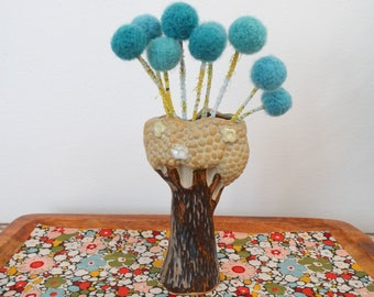 Turquoise pom pom flower bouquet WITH Brown Vase - Tree Vase Japan Pottery - Faux flower bouquet - Modern Centerpiece - Woodland Nursery