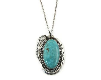 Native American Sterling Turquoise Feather Pendant Necklace - Sterling Silver, Turquoise Stone, Native American Necklace, Vintage Necklace