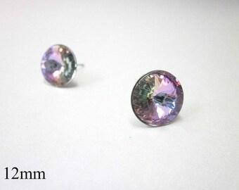 Purple Posts -- Purple Swarovski Stud Earrings -- Round Pink Purple Earrings -- Light Purple Studs -- Pink Purple Crystal Studs -- Vitrail